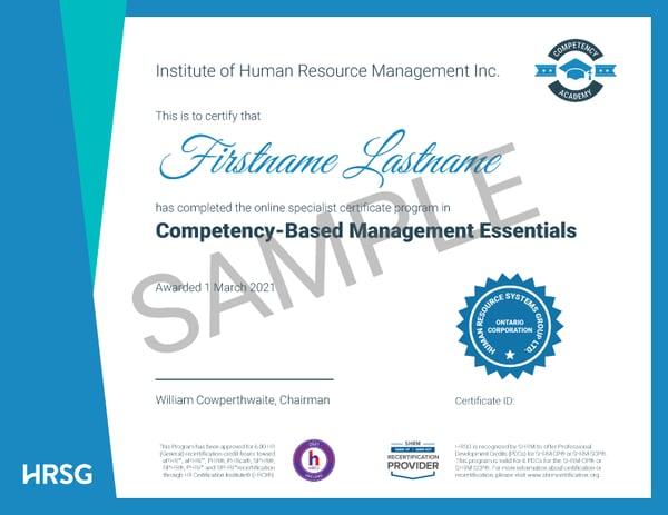 CBM certificate sample